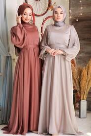 Beige Hijab Evening Dress 5215BEJ - Thumbnail