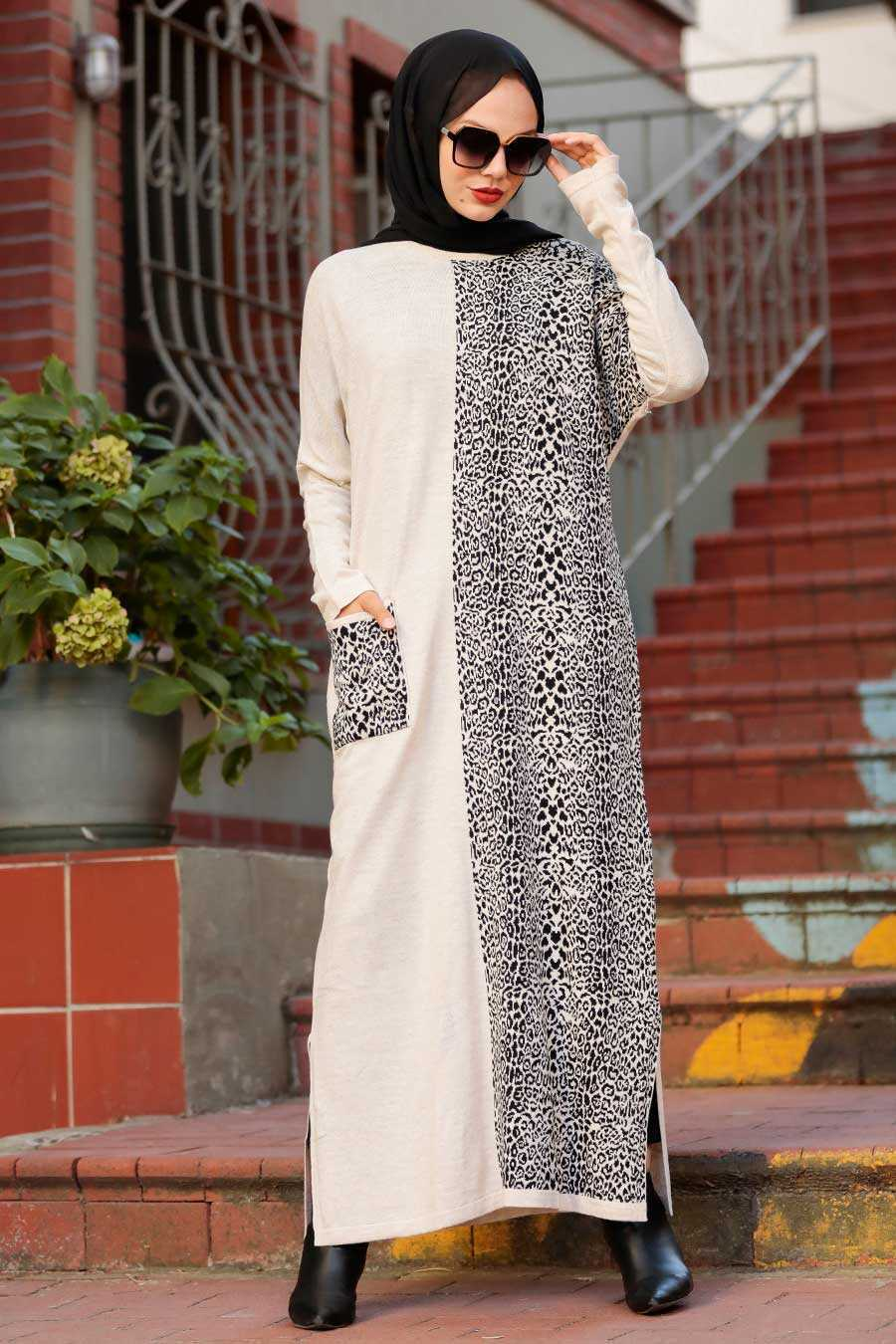 Beige Hijab Knitwear Dress 3052BEJ