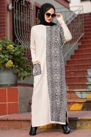 Beige Hijab Knitwear Dress 3052BEJ - Thumbnail