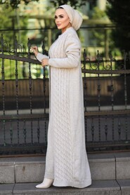 Beige Hijab Knitwear Suit 15020BEJ - Thumbnail