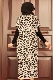 Beige Hijab Knitwear Suit Dress 3192BEJ - Thumbnail