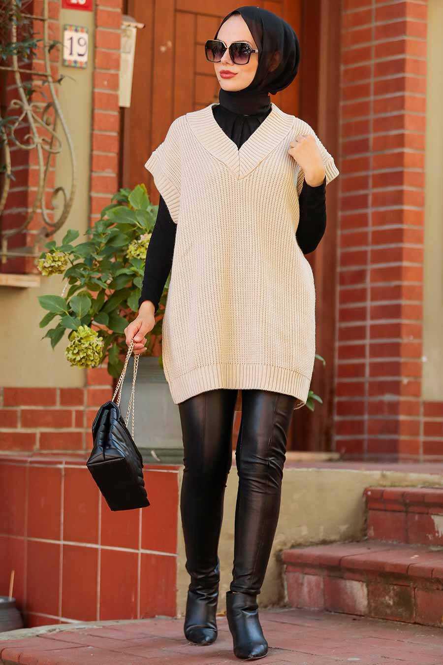 Beige Hijab Knitwear Sweater 7836BEJ