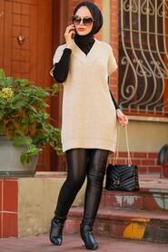 Beige Hijab Knitwear Sweater 7836BEJ - Thumbnail