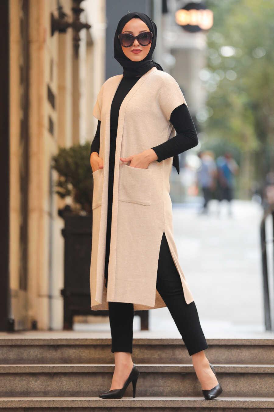 Beige Hijab Knitwear Vest 21920BEJ