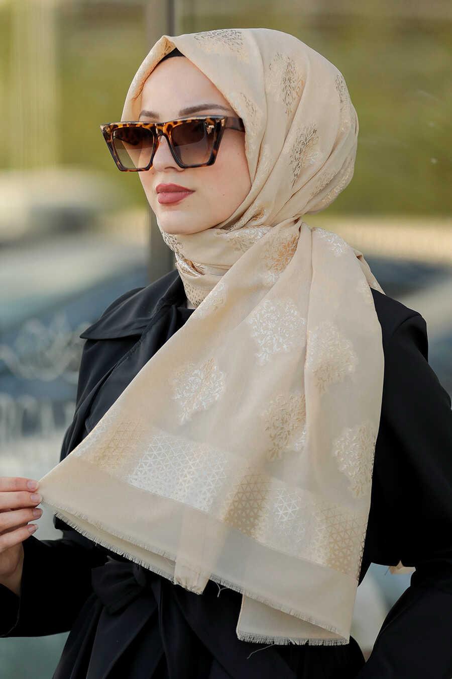 Beige Hijab Shawl 7531BEJ