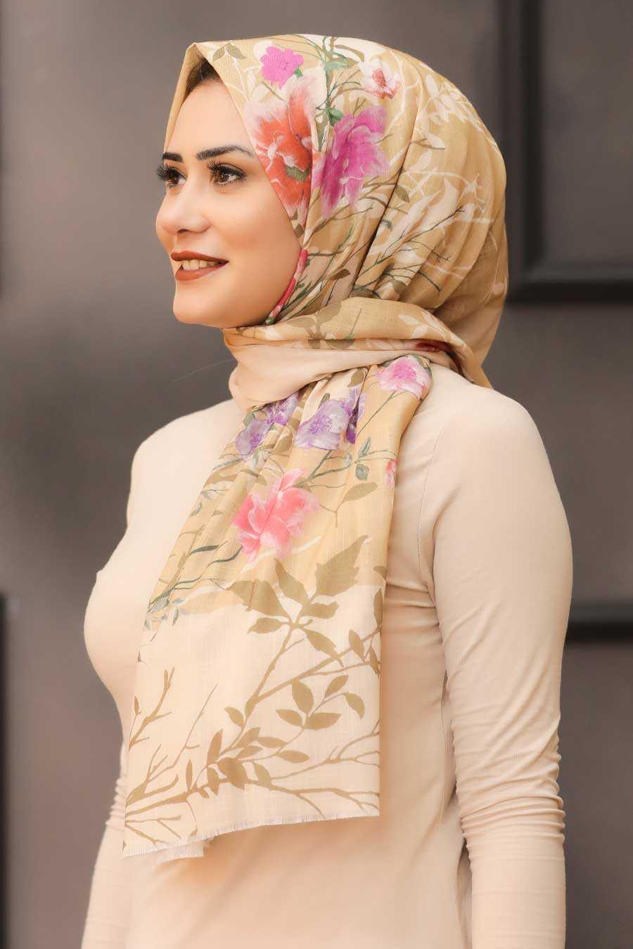 Beige Hijab Shawl 7565BEJ