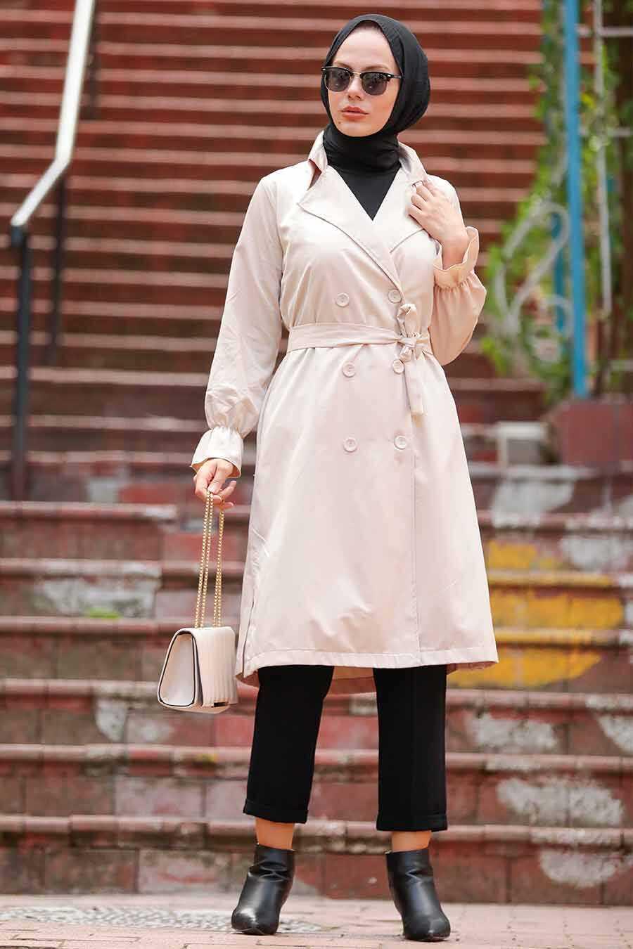 Beige Hijab Trenchcoat 5836BEJ