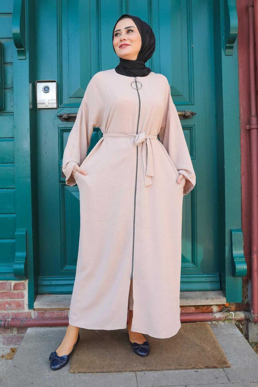 Beige Hijab Turkish Abaya 544BEJ