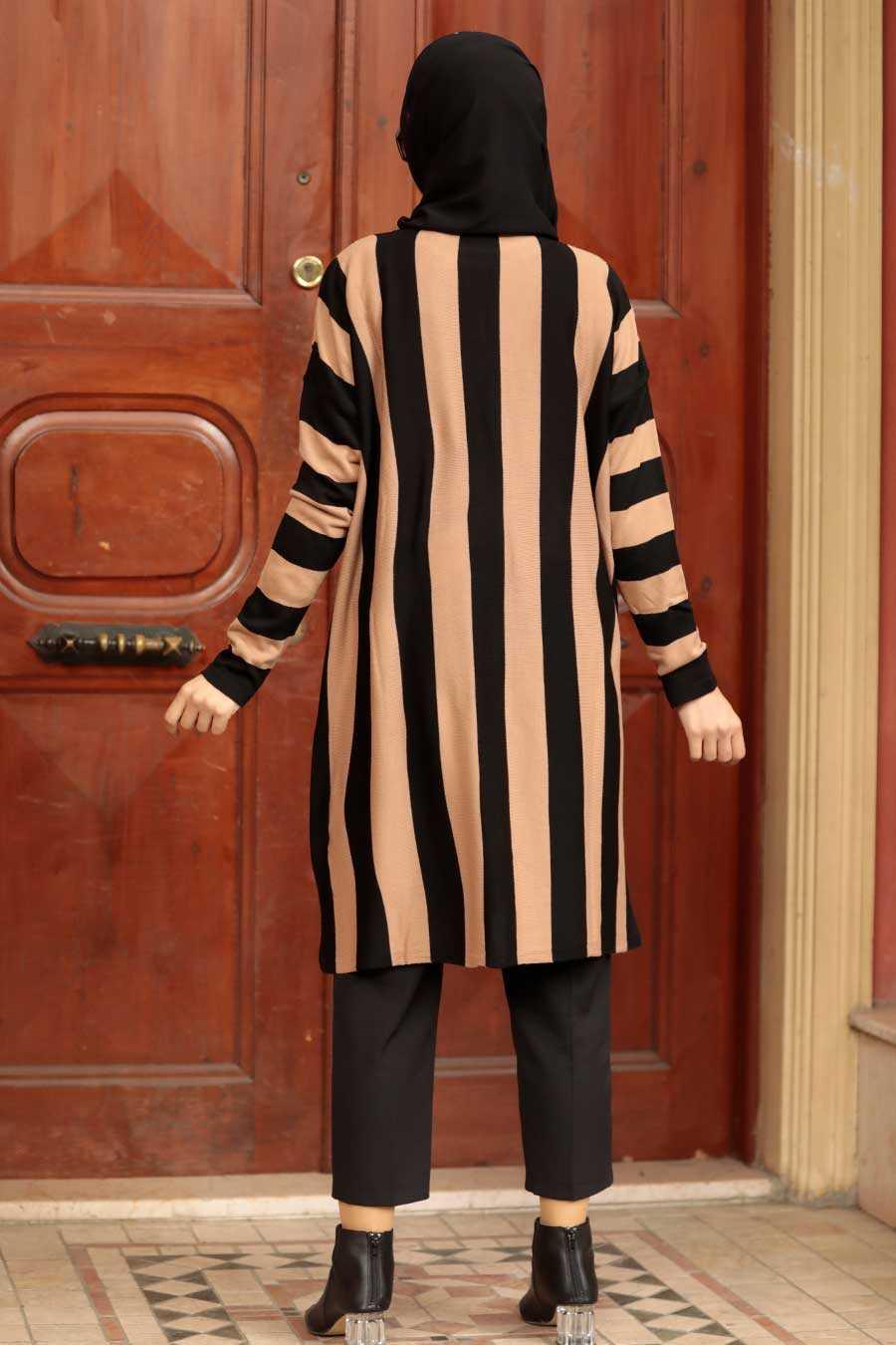 Beige Knitwear Hijab Tunic 33210BEJ