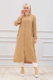 Biscuit Hijab Coat 15630BS - Thumbnail