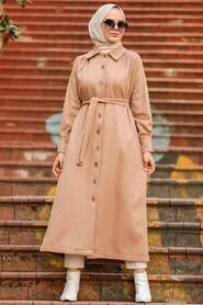 Biscuit Hijab Coat 4554BS - Thumbnail