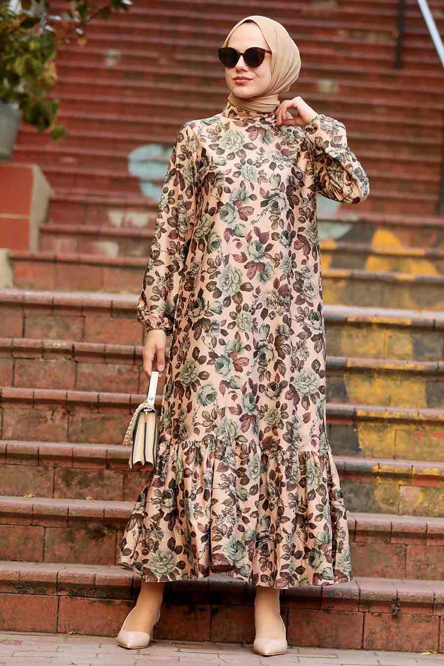 Biscuit Hijab Dress 1185BS