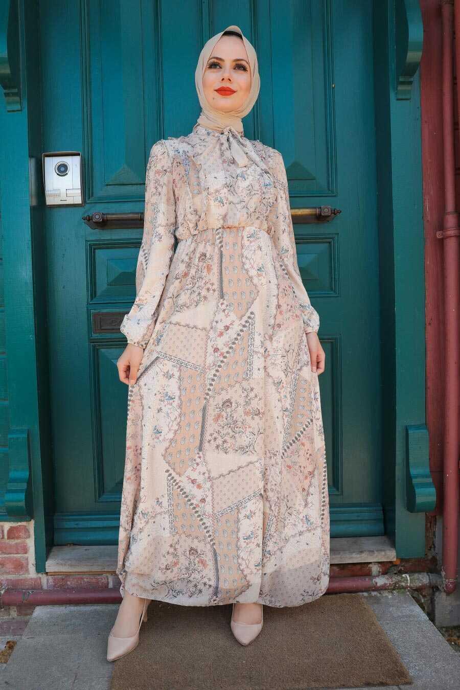 Biscuit Hijab Dress 2957BS