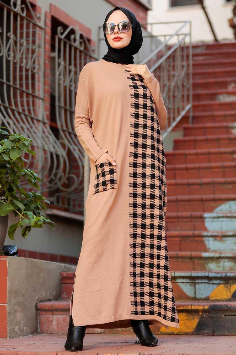 Biscuit Hijab Knitwear Dress 30503BS