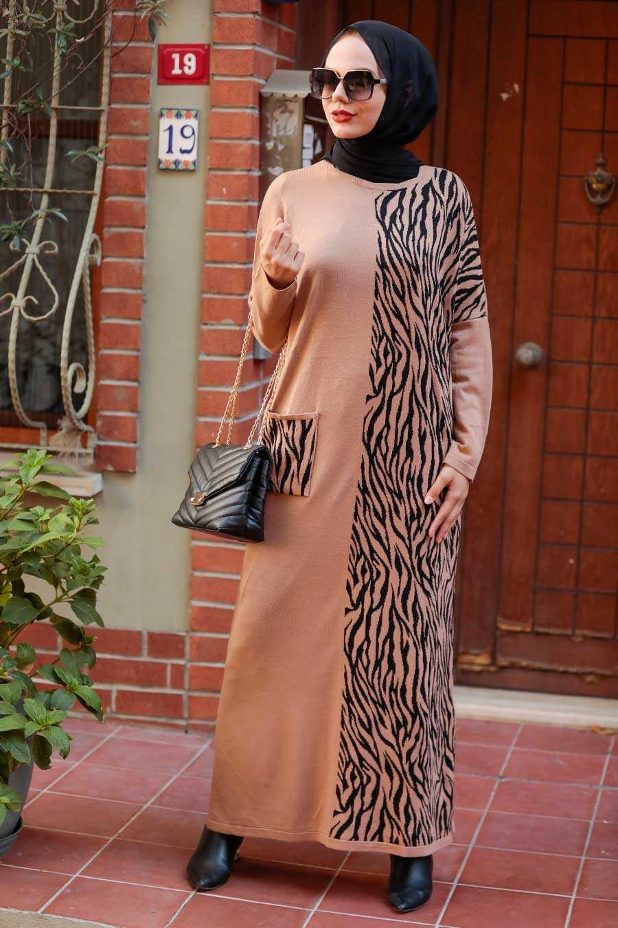 Biscuit Hijab Knitwear Dress 3051BS