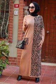 Biscuit Hijab Knitwear Dress 3051BS - Thumbnail