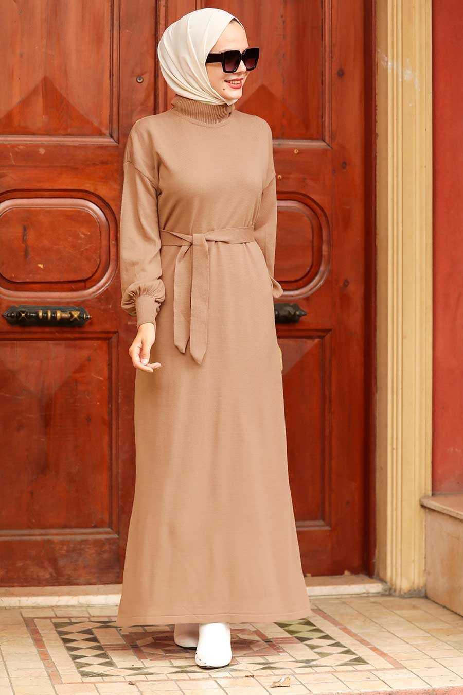 Biscuit Hijab Knitwear Dress 3135BS