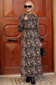 Biscuit Hijab Knitwear Dress 52311BS - Thumbnail