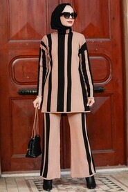 Biscuit Hijab Knitwear Suit Dress 3153BS - Thumbnail