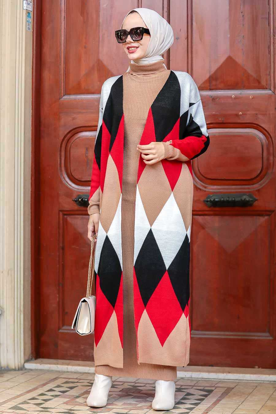 Biscuit Hijab Knitwear Suit Dress 3181BS