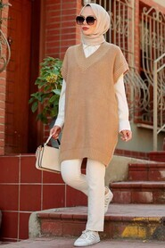 Biscuit Hijab Knitwear Sweater 7836BS - Thumbnail