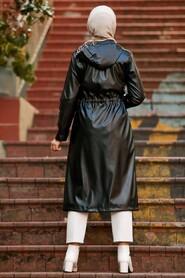 Black Hijab Coat 12050S - Thumbnail