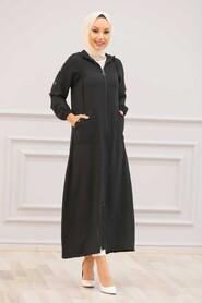 Black Hijab Coat 3729S - Thumbnail