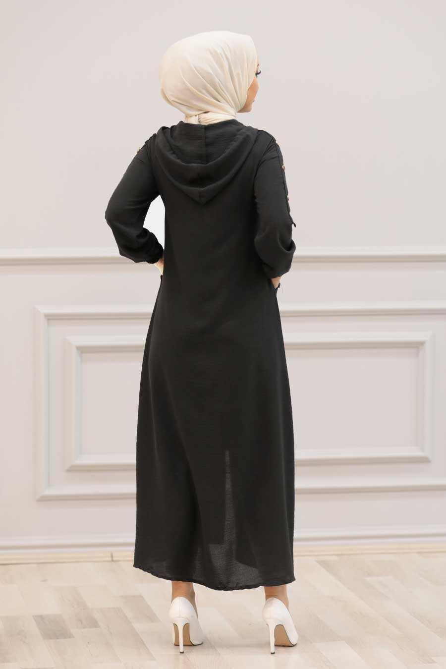 Black Hijab Coat 3729S