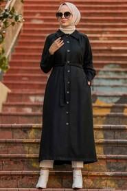 Black Hijab Coat 4554S - Thumbnail