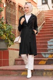 Black Hijab Coat 7013S - Thumbnail