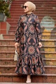 Black Hijab Dress 11851S - Thumbnail