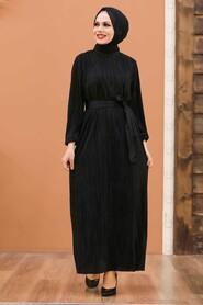 Black Hijab Dress 12151S - Thumbnail