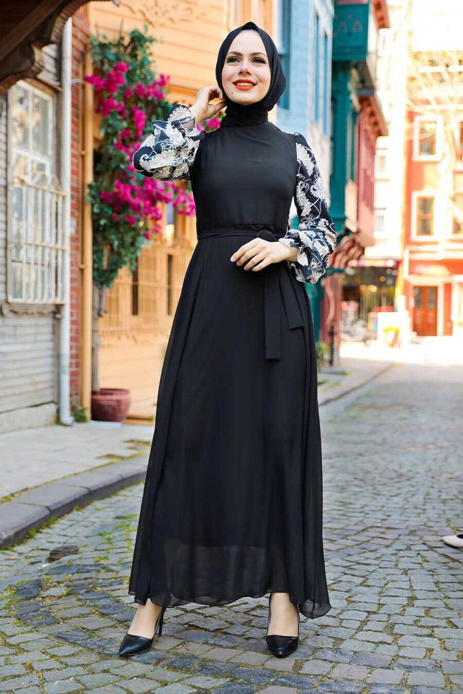Black Hijab Dress 12327S