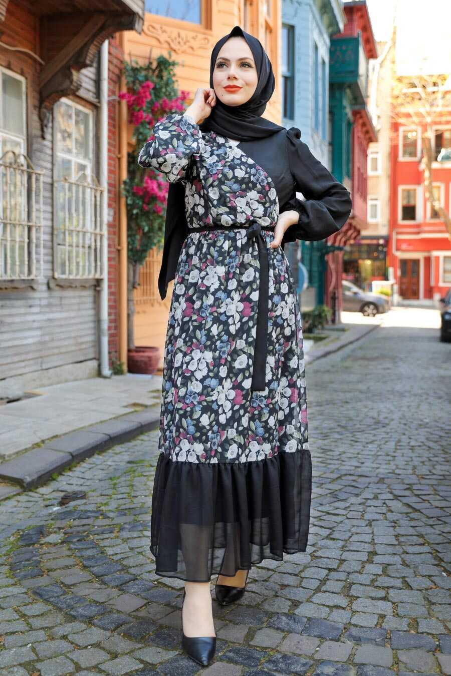 Black Hijab Dress 12328S