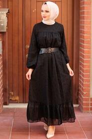 Black Hijab Dress 1755S - Thumbnail
