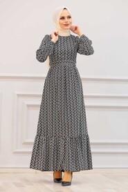 Black Hijab Dress 28480S - Thumbnail