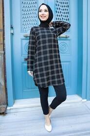 Black Hijab Tunic 358116S - Thumbnail