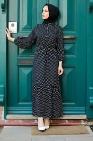 Black Hijab Dress 3736S - Thumbnail