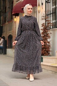 Black Hijab Dress 4339S - Thumbnail