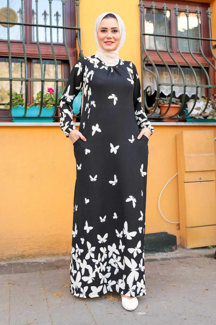 Black Hijab Dress 65814S