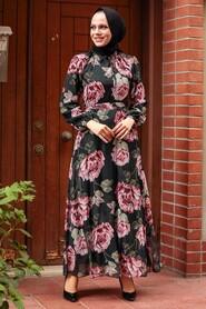 Black Hijab Dress 71020S - Thumbnail