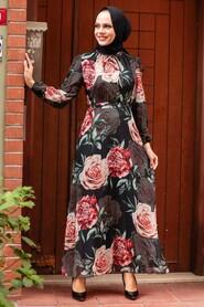 Black Hijab Dress 7102S - Thumbnail