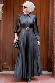 Black Hijab Dress 7630S - Thumbnail