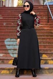 Black Hijab Dress 7647S - Thumbnail