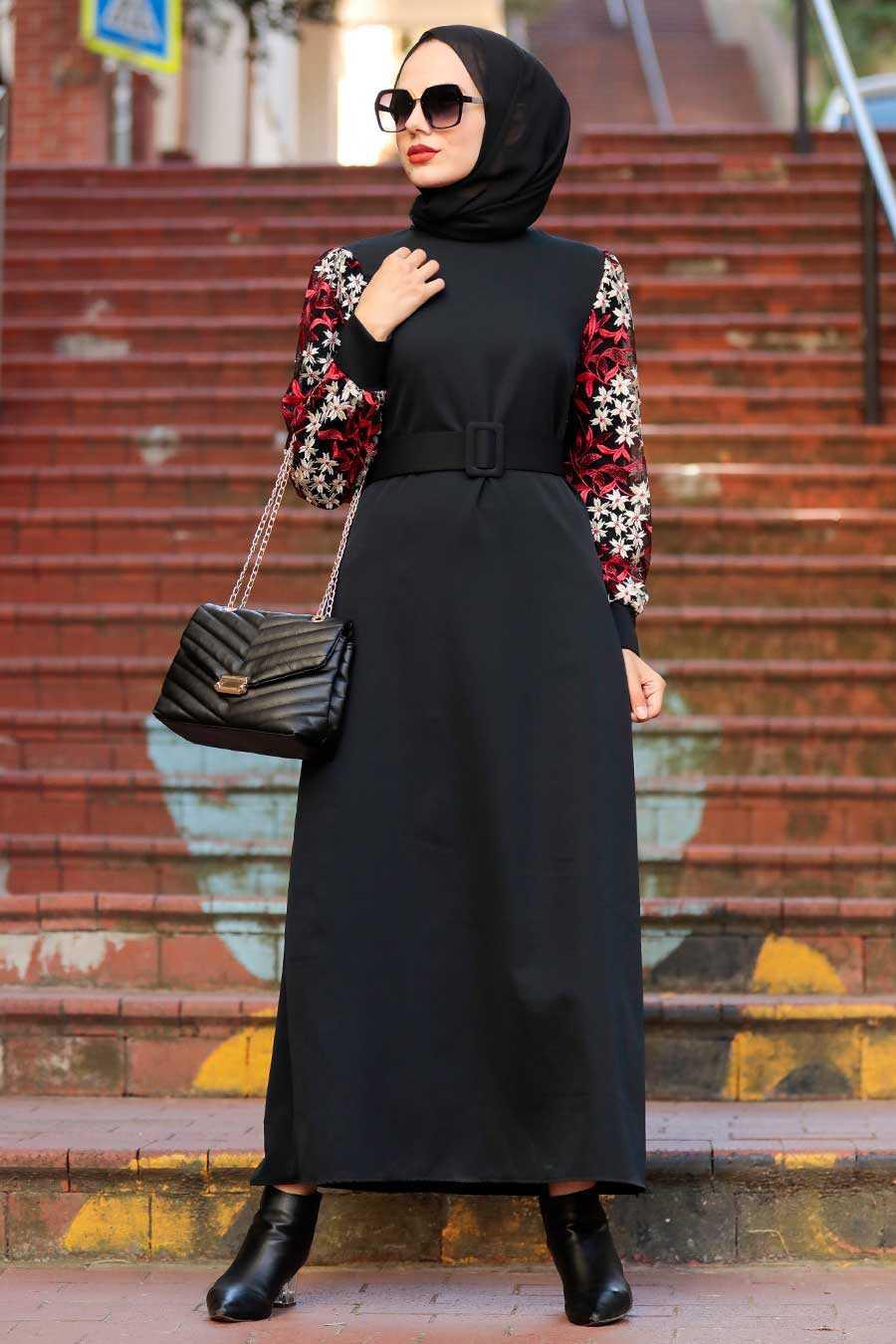 Black Hijab Dress 7647S