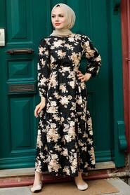 Black Hijab Dress 7673S - Thumbnail
