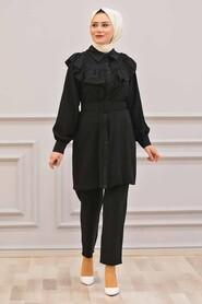 Black Hijab Dual Suit Dress 14701S - Thumbnail