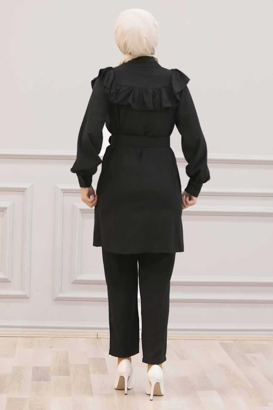 Black Hijab Dual Suit Dress 14701S