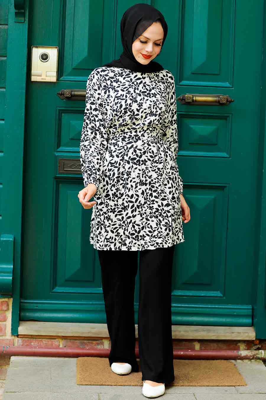 Black Hijab Dual Suit Dress 1819S