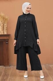 Black Hijab Dual Suit Dress 2428S - Thumbnail